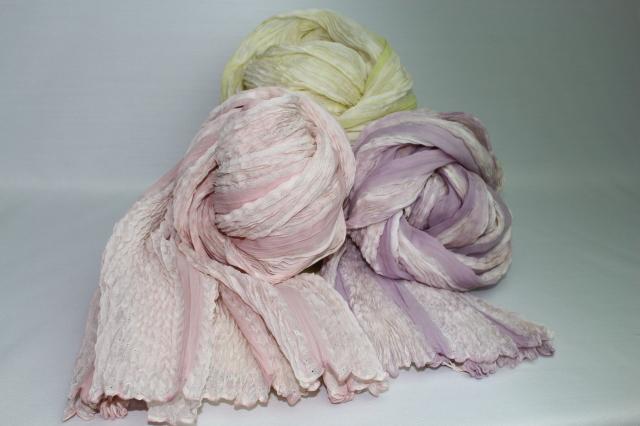 シルクシフォン 縫い締め絞り ショール