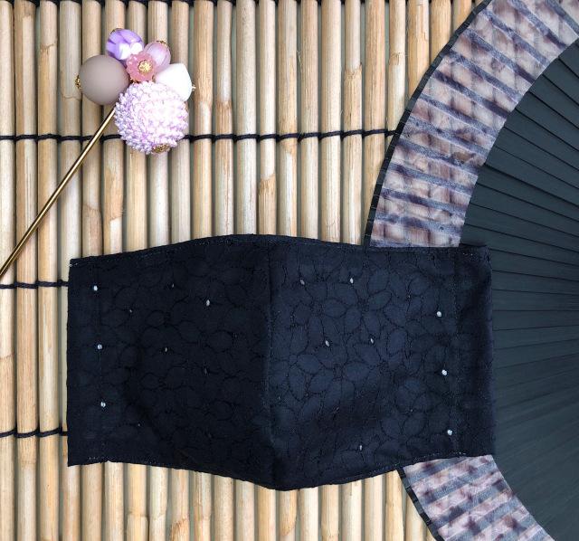 100%コットン 花柄レースマスク(ブラック・ホワイト) 盛夏におすすめ洗えるマスク