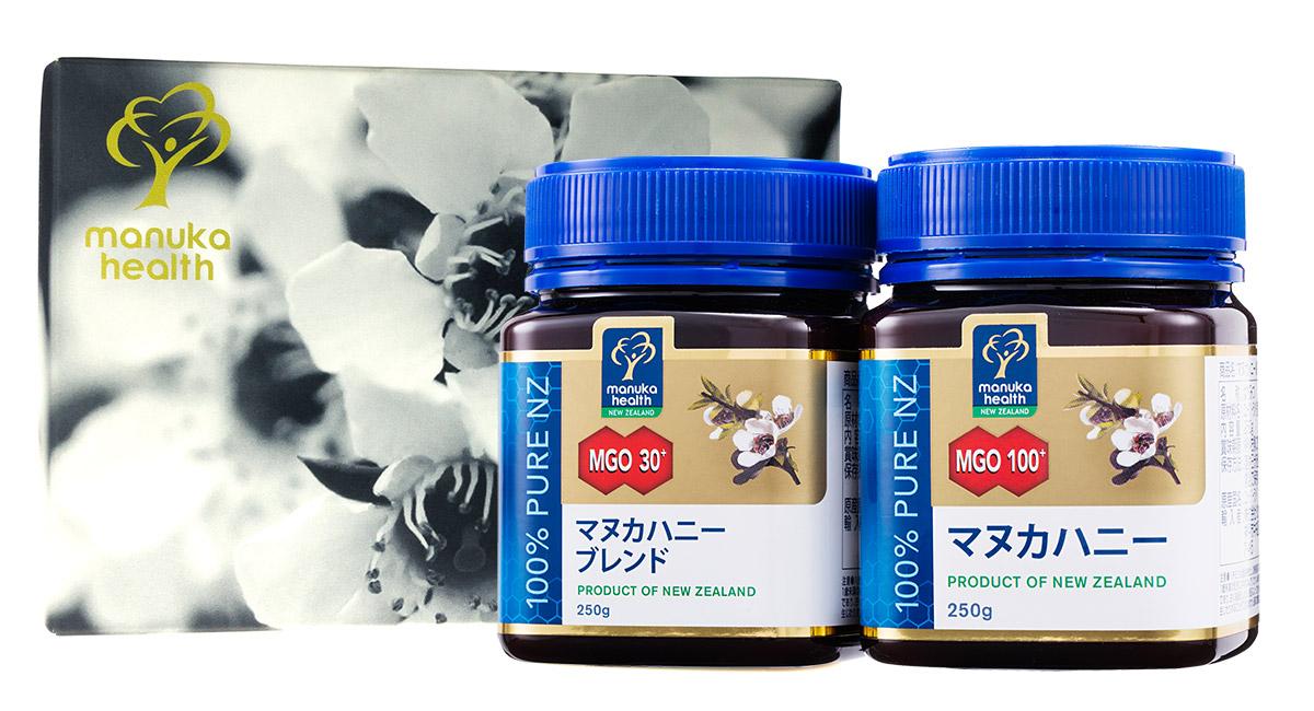 【ギフトボックス無料】【送料無料】マヌカハニーMGO30+ブレンド250gとMGO100+250gのギフトセット