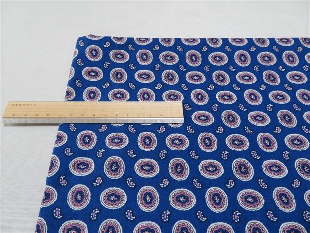 チンツ加工綿レーヨンローンブルー