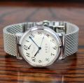 【時と共に価値が増す本物で上質な高級機械式腕時計】 THE  SPQR (手巻パワーリザーブ/アイボリー・ブラック文字盤)×ドイツSTIB社SSメッシュバンド