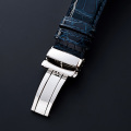【 あらゆる高級腕時計との相性も抜群  4mm厚の高級感 と 高い耐久性で 納得の品質 】   18mm・20mm 濃紺オイルマット仕上 最高級クロコダイル × SSミラー仕上Iタイプバックル