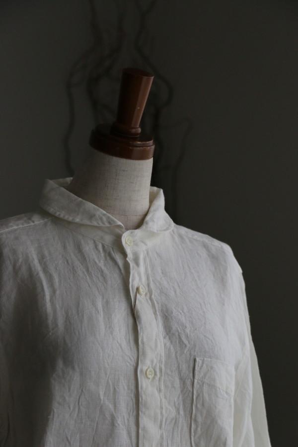 <SALE>82649 prit リネンオックスフォードシャンブレー7分袖ラウンドカラーシャツ 01オフ