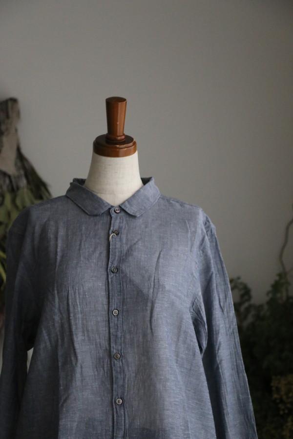 <SALE>82681 prit 綿麻ボイルシャンブレー長袖レギュラーカラーシャツ 05.ネイビー