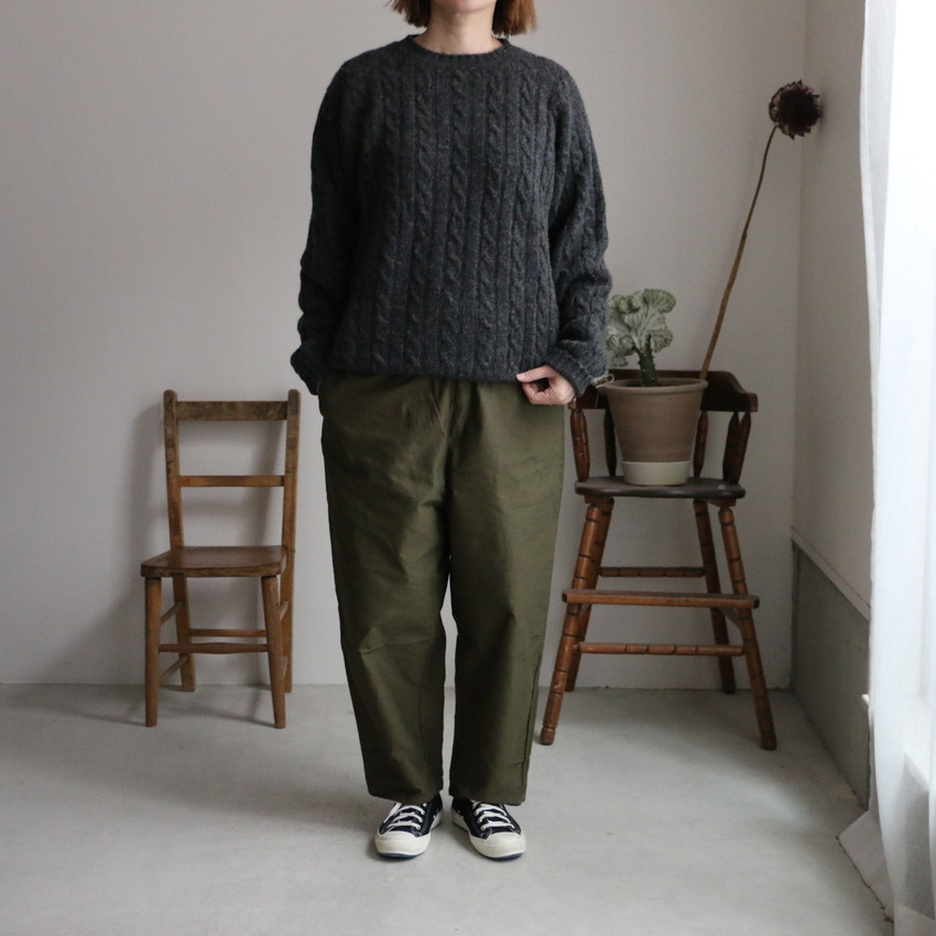NJMS1851 Jamieson's CABLE CREW-NECK PULLOVER 2色