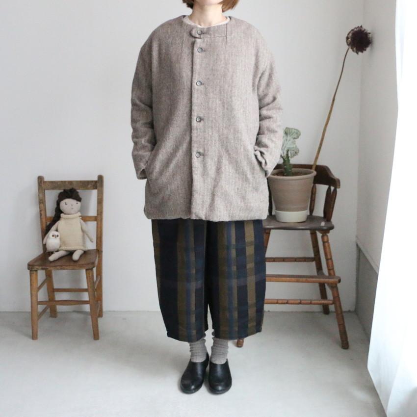 13420001 vlas blomme Wool Linen Herringbone ノーカラーコート