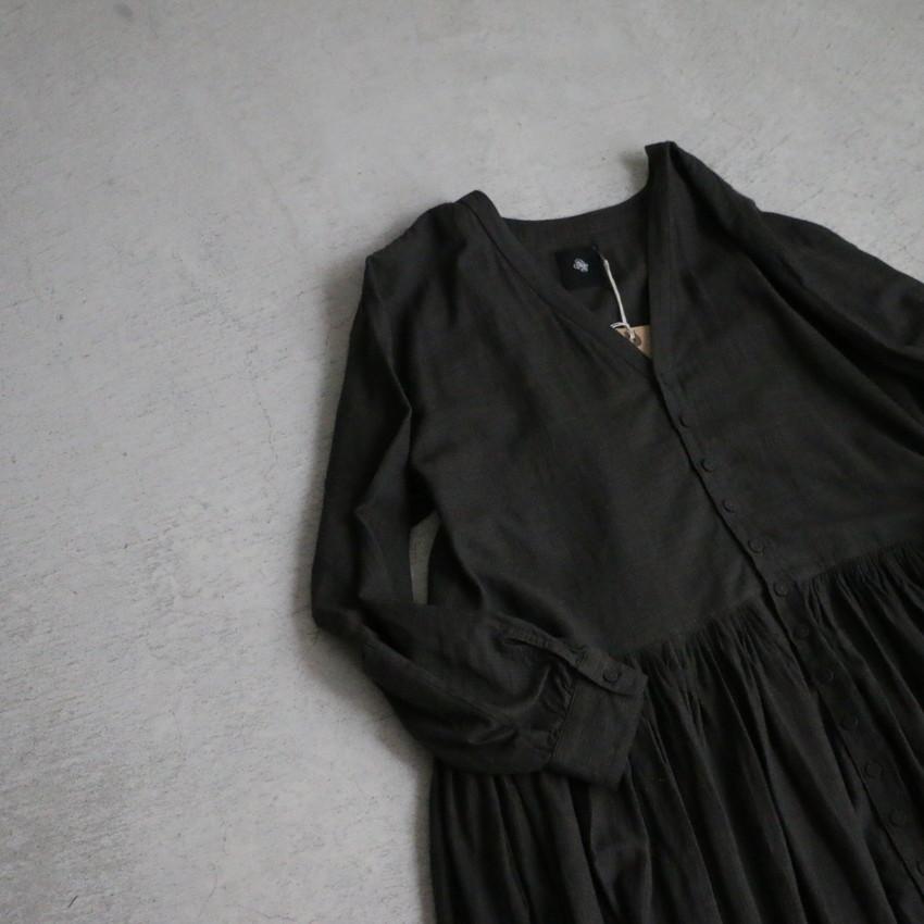 INMDS19713 maison de soil HANDWOVEN MINI STRIPE V-NECK DRESS