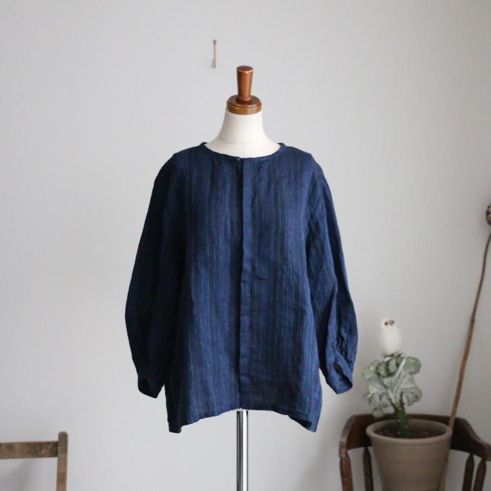 13134501 vlas blomme Vintage Stitch Stripe ブラウス