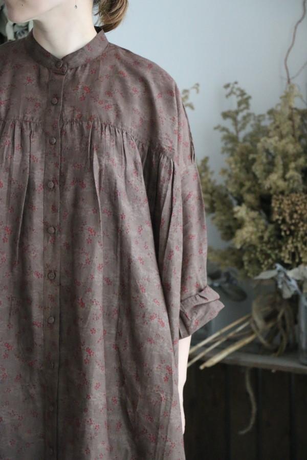 NSL1750 soil DYED VOILE FLOWER PT GATHER SHIRTS DRESS