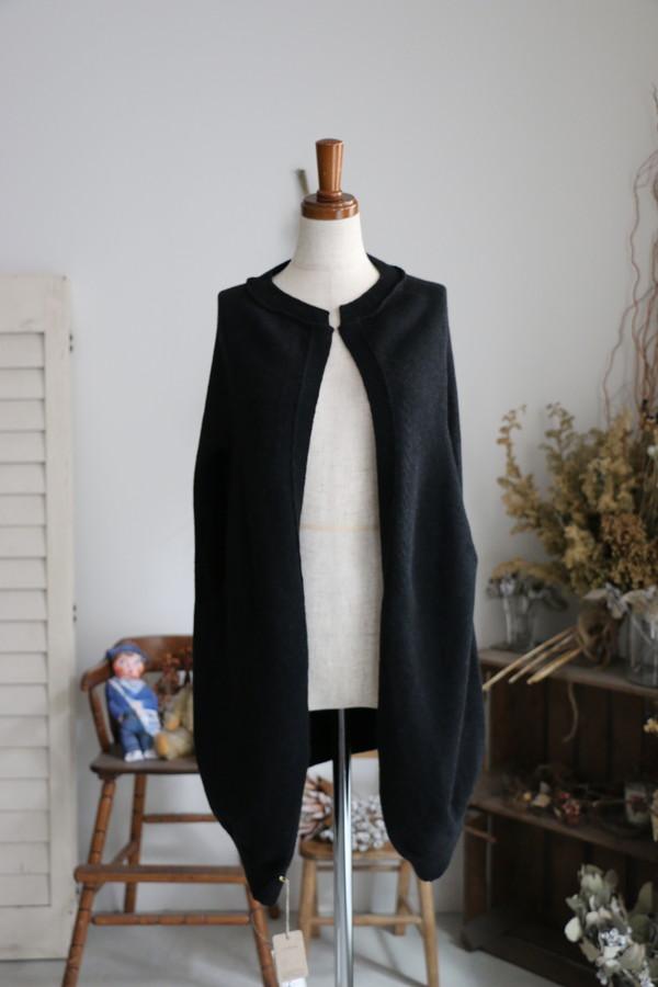 <SALE>11314991 vlas blomme Wool Linen ピン付きコクーンボレロカーディガン
