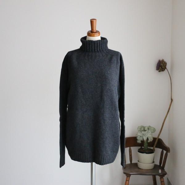 JNAMP1651 ARMEN polo neck saddle shoulder p/o charcoal