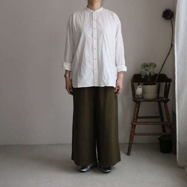 INAM1702PD ARMEN utility banded collar shirt  2色