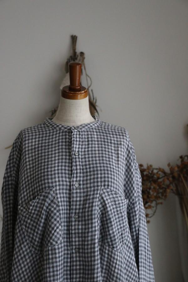 INAM1974DG armen check utility banded collar shirt