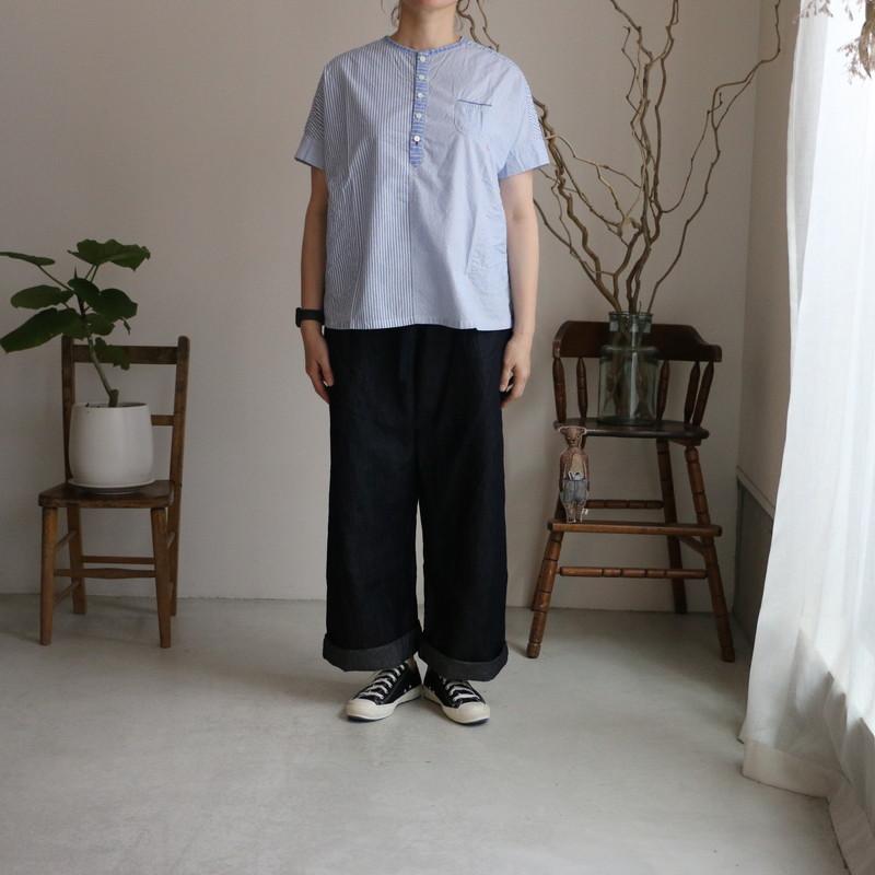 12S03 快晴堂 釦フレンチスリーブ プルオーバー