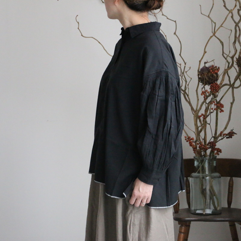 INMDS 21742 maison de soil regular collar shirt with mini pintuck 2色