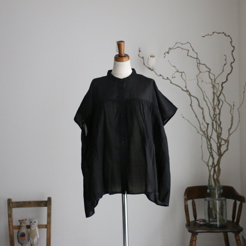 NSL21001 soil banded collar gathered french short sleeve shirt