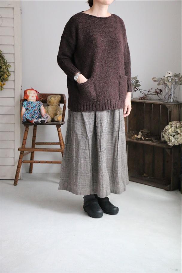 INSL18635 soil Wool Linen Gather Skirt  2色