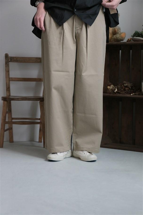 <SALE>1-762688 Midi Umi wide tucked chino pants beige