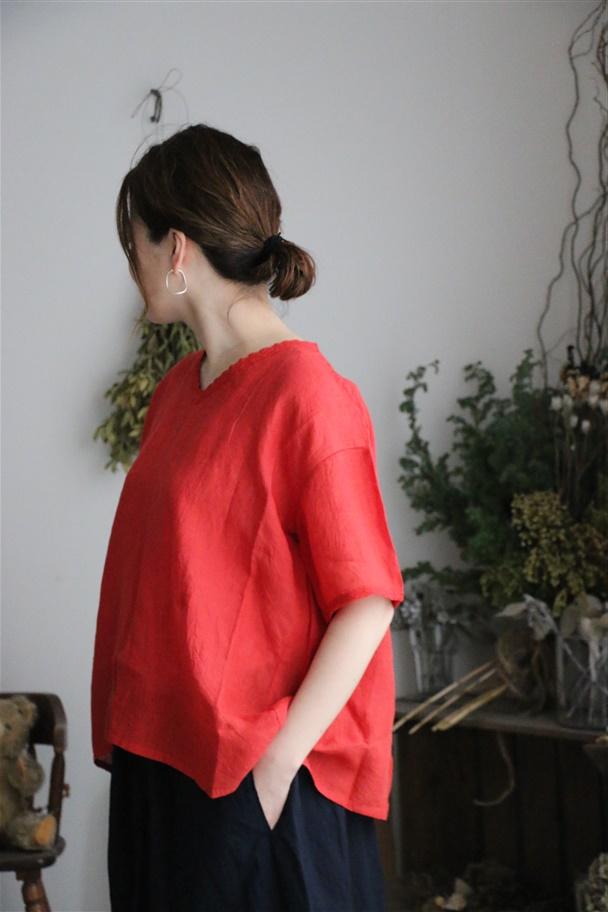 NMDS19011 maison de soil v neck lace short pullover 2色