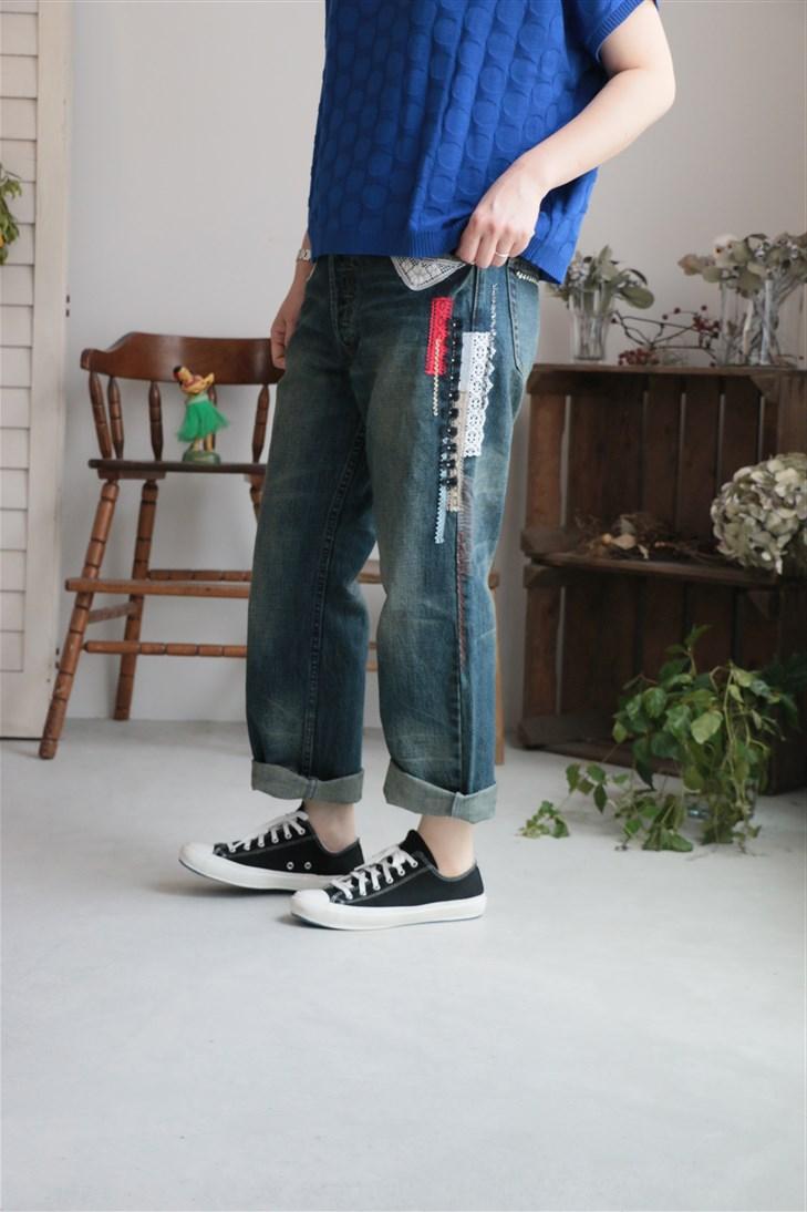 178M999243 marble SUD  rhythm YOYO &lace DENIM PANTSサイズ展開あり