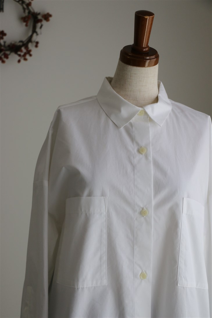 <SALE>SD64ES12 STAMP AND DIARY ビッグポケットシャツ シロ