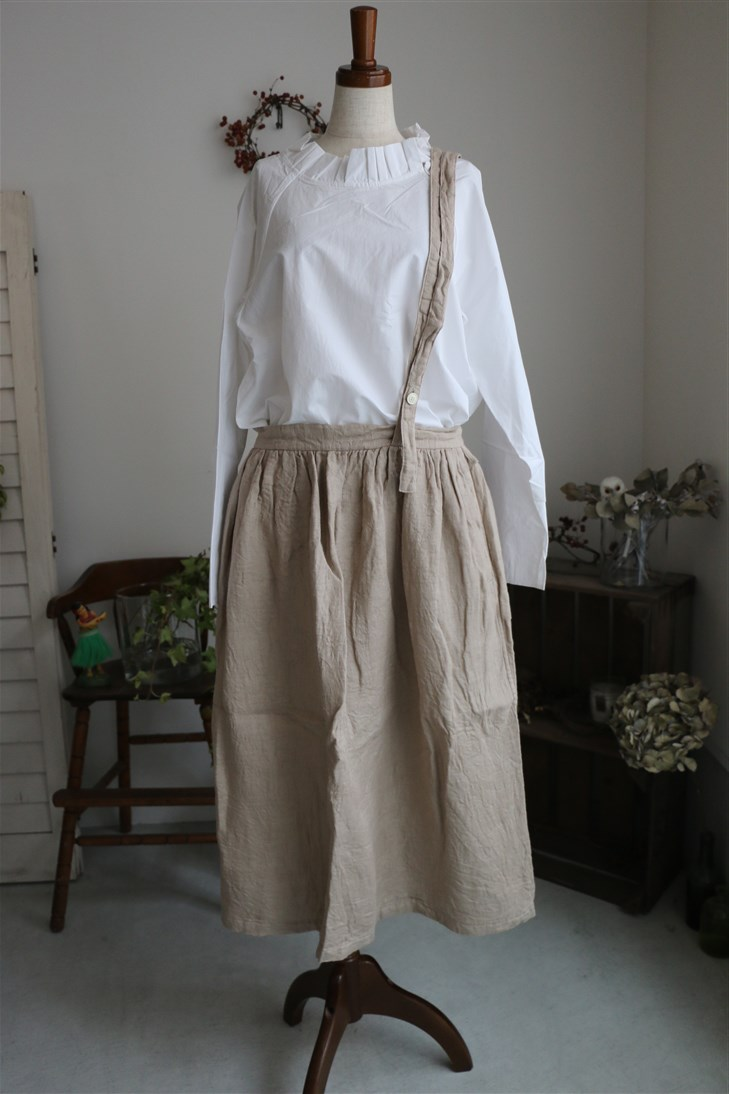 13535181 vlas blomme Airy Double Gauze ギャザースカート 2色