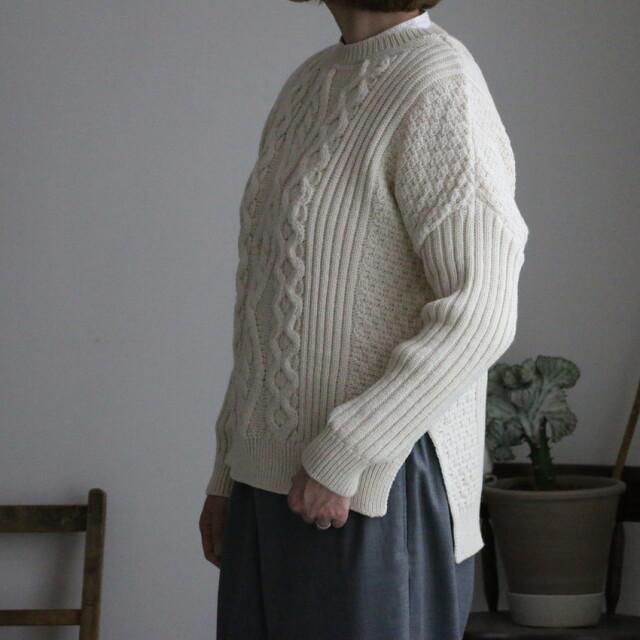 AR03AWK102 aran vented aran sweater 3色