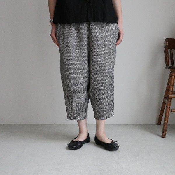 13543601 vlas blomme Vintage Linen Tweed イージーパンツ