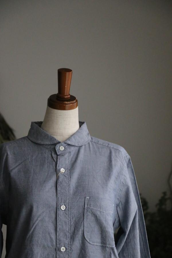 <SALE>80745 prit 60/1引き揃えスピンオックス ラウンドカラーシャツ 15.ブルー