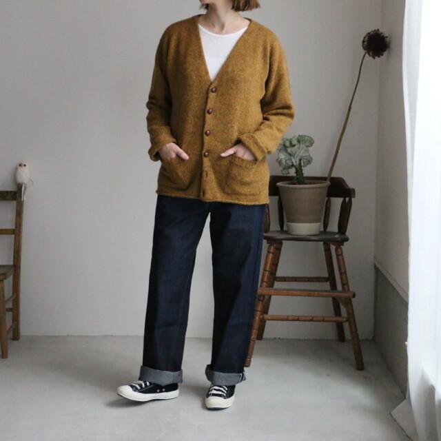 njms1754 Jamieson's Plain tight knit v neck cardigan 2色