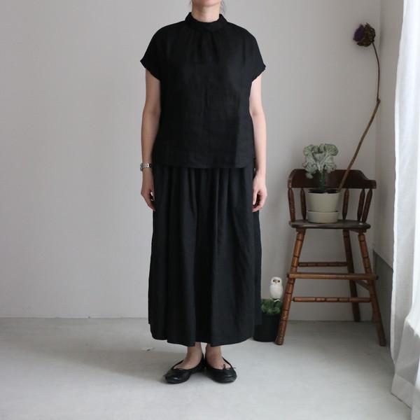 ST029 veritecoeur リネンシャーリングスカート BLACK