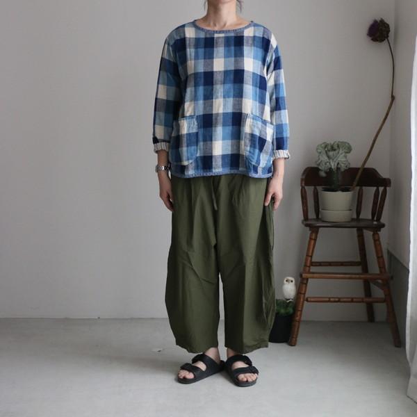 01S-57 快晴堂 接結ブロックチェックリバーシブルTシャツ 2色
