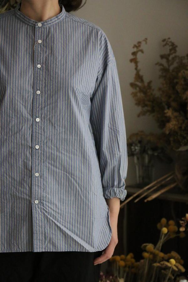 P81052 prit タイプライターストライプスタンドカラオーバーサイズーシャツ 2色