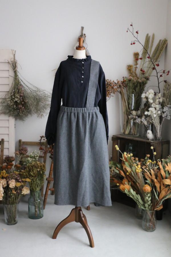 <SALE>11504581 vlas blomme Fluffy Wool Linen ワンショルダーアシンメトリースカート