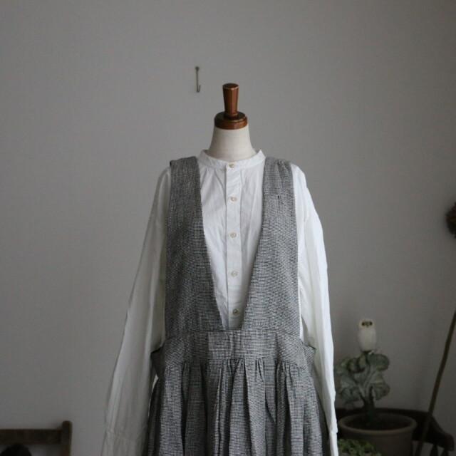 13545401 vlas blomme Silk Linen ジャンパースカート 2色