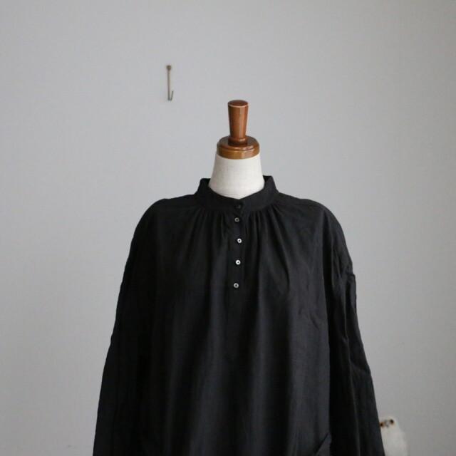 200602 suro Yヨークギャザードレス ブラック