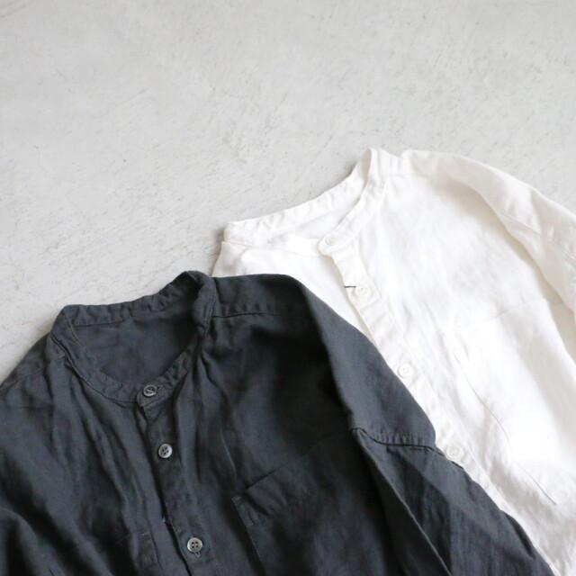 US203SH007 UNIVERSAL SEVEN リネンバンドカラーシャツ 2色