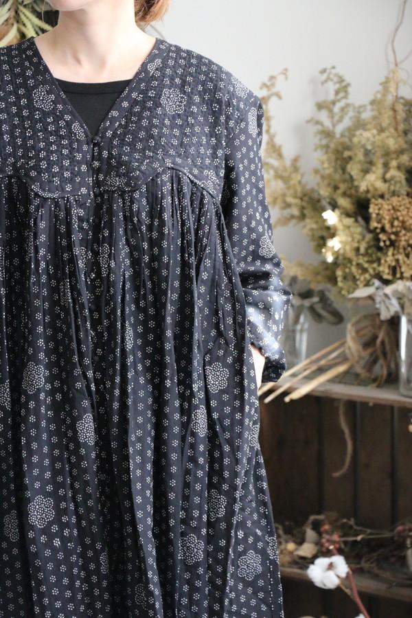 NMDS19613 maison de soil BLOCK PRINT HAND STITCH GATHERED DRESS 2色