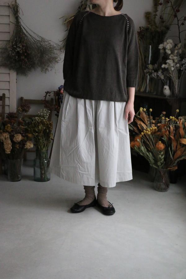 19-07201 French bull cion コットンリネンギャザースカート 2色