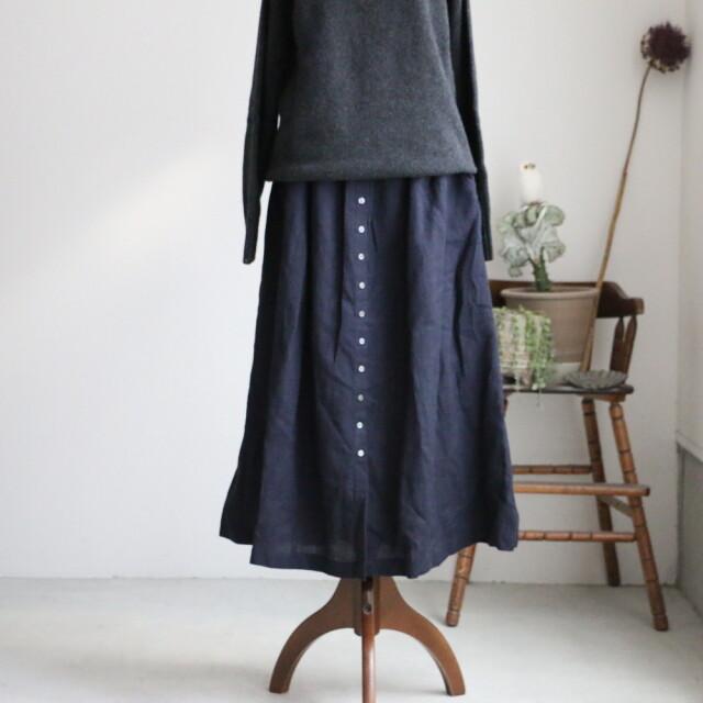 INSL18635 soil Wool Linen Gather Skirt