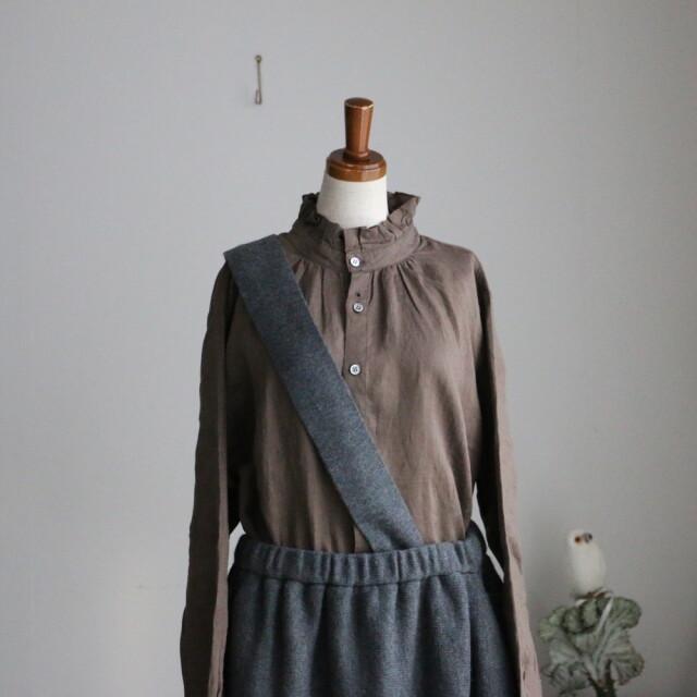 11504581 vlas blomme Fluffy Wool Linen ワンショルダーアシンメトリースカート