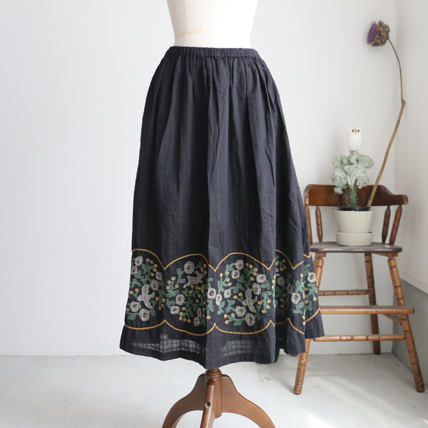 07AM305159 marble SUD EMB Dreamy Skirt  BLACK