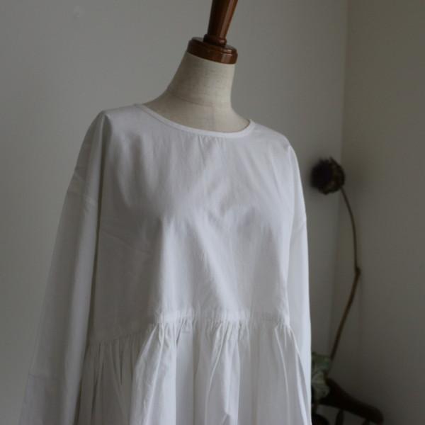 NMDS17581 maison de soil ORGANIC POPLIN 2WAY 3/4sl GATHER blouse 2色