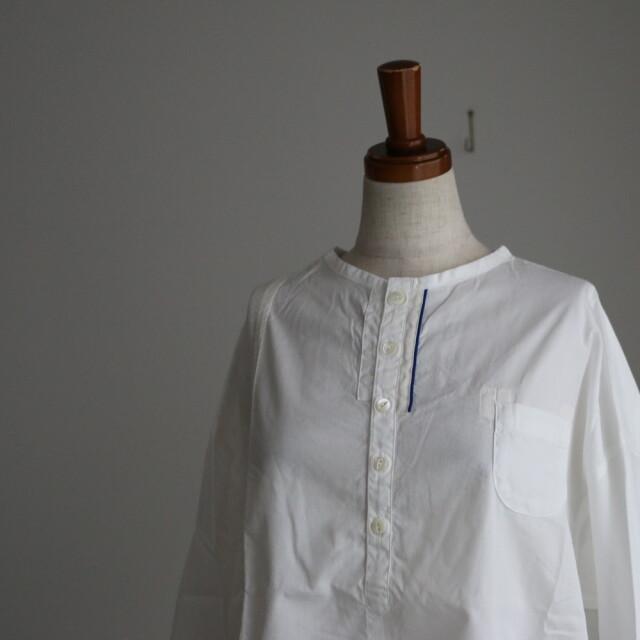 11S-23 快晴堂 白のパッチワーク 釦Tシャツ