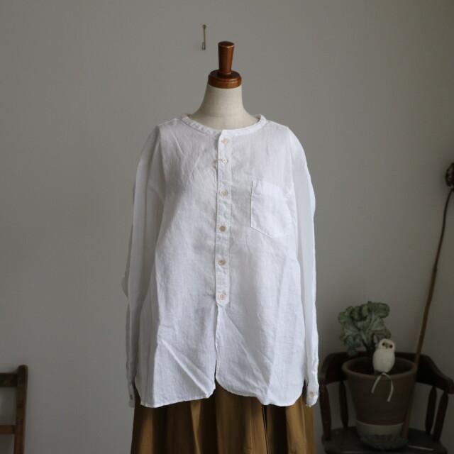 P81162 prit21/1フレンチリネンバンドカラーワイドシャツ 2色