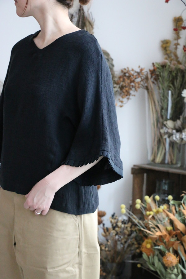 s006a  si si si リネンワッフル sleeve tuck blouse 2色