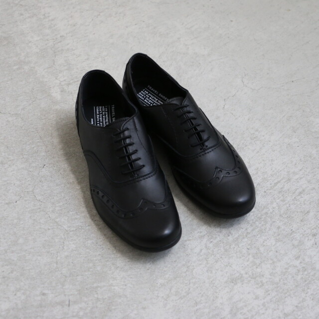 TR-004 chausser TRAVEL SHOES ウィングチップ BLACK