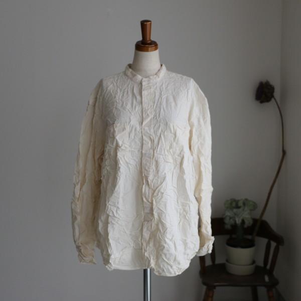 NVL1951W Vas-y Lentement Band Collar L/SL Oversized shirt natural