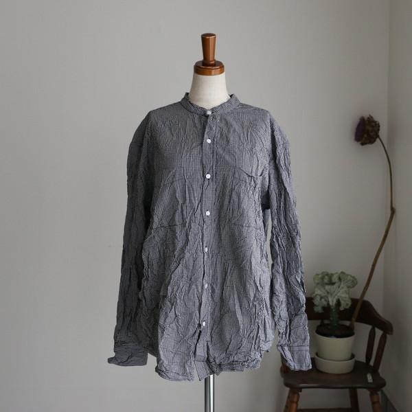 NVL1951CW Vas-y Lentement Band Collar L/SL Oversized shirt check
