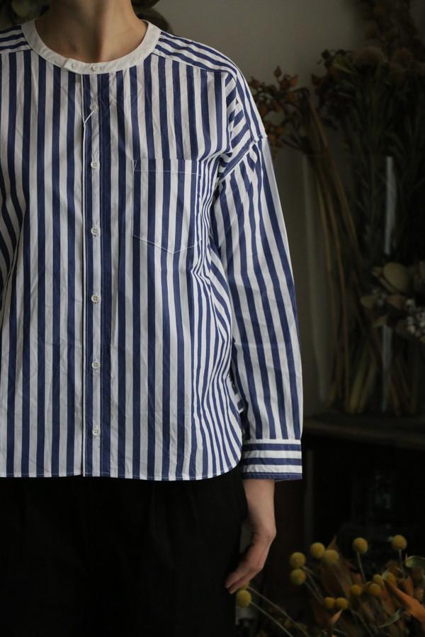 UT201SH040 UNIVERSAL TISSU バーバーストライプ ワーキングシャツ ネイビー
